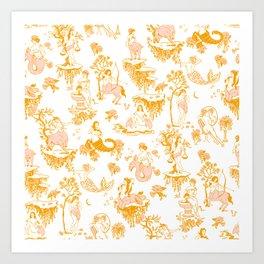 Astrology-Inspired Zodiac Gold Toile Pattern Art Print