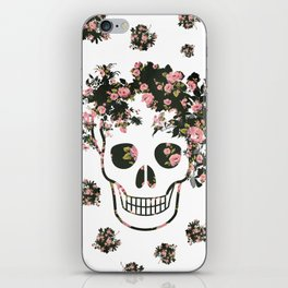 Flower Skull, Floral Skull, Pink Flowers on Human Skull iPhone Skin