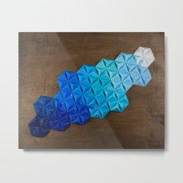 Origami One-One-Nine Blue Metal Print