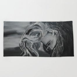 Black And White Girl Beach Towel