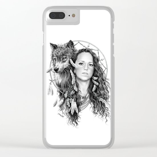 Heather / Black & white Clear iPhone Case