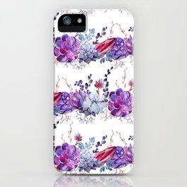 Pastel pink lavender blue watercolor succulents cactus floral iPhone Case
