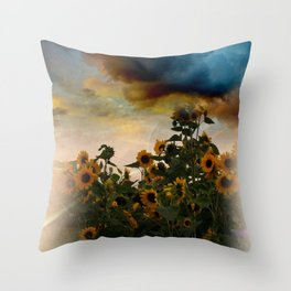 sunflowers and clouds -2- Throw Pillow