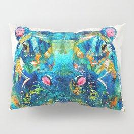 Hippopotamus Art - Happy Hippo - By Sharon Cummings Pillow Sham