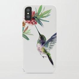 Hummingbird. elegant bird and flowers, minimalist bird art beautiful bird painting iPhone Case