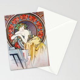 """Alphonse Mucha """"Girl With Easel"""" Stationery Cards"""