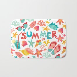 Summer seamless pattern with ice-cream, suglases, cocktail,  starfish, coral, flip flop sandals. Vac Bath Mat