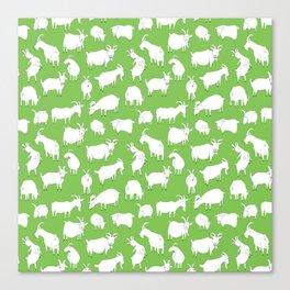 Green Goats Canvas Print