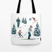 sports Tote Bags featuring Sports d'hiver by Vannina