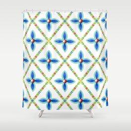 Elizabethan Folkloric Lattice Shower Curtain