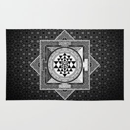 Sri Yantra Black & White Sacred Geometry Mandala Rug