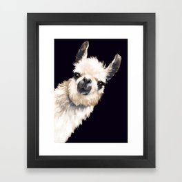 Sneaky Llama in Black Framed Art Print