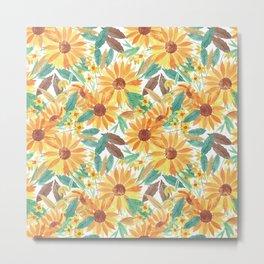 Yellow Summer Sunflower Watercolor Pattern Metal Print