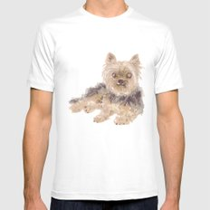 Yorkshire Terrier Mens Fitted Tee White MEDIUM