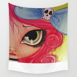 Girl In Skellie Bow Wall Tapestry