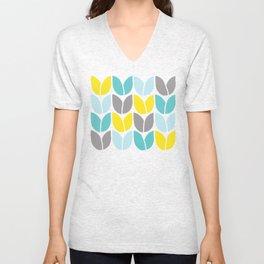 Tulip Knit (Aqua Gray Yellow) Unisex V-Neck