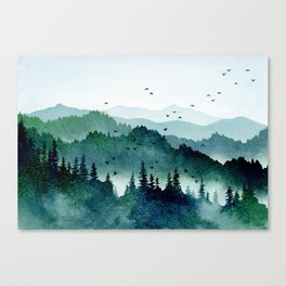 Watercolor Mountains - Handpainted Landscape Art Pine Trees Forest Wanderlust Canvas Print