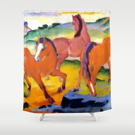 """Franz Marc """"Grazing Horses IV (The Red Horses)"""" Shower Curtain"""