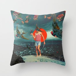 The Boy and the Birds Throw Pillow