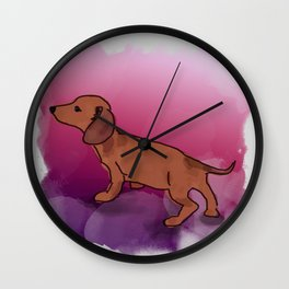 Pink Dachshund Wall Clock