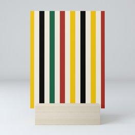 Rustic Lodge Stripes Black Yellow Red Green Mini Art Print