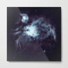 Orion Nebula Midnight Steel Blue Metal Print