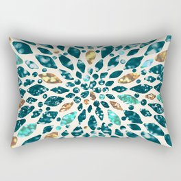 Glitter Dahlia in Gold, Aqua and Ocean Green Rectangular Pillow