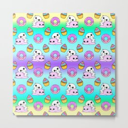 Cute happy playing cuddling funny Kawaii pink baby kittens, sweet pink donuts, yummy colorful cupcakes pretty fantasy bright rainbow purple blue design. Nursery decor. Metal Print