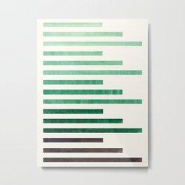 Deep Green Aquamarine Minimalist Mid-century Modern Stripe Pattern Art Staggered Stripes Metal Print