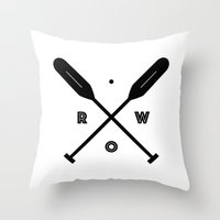 rowing Throw Pillows featuring Rowing x Oars by K Michelle