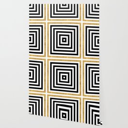 Simple Geometric Cross Pattern - White Gold on Black - Mix & Match with Simplicity of life Wallpaper