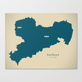 Modern Map of Saxony / Sachsen Germany Illustration Canvas Print