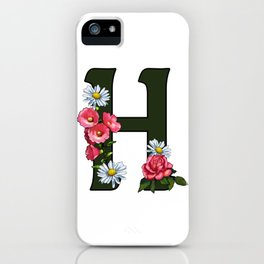 Letter H, Initial H, Monogram, Floral Decorated Letter iPhone Case