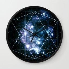 Galaxy Sacred Geometry Deep Ocean Blue Wall Clock