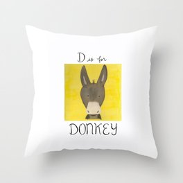 D is for Donkey Throw Pillow