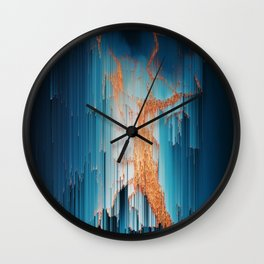 Glitch in the Dark - Abstract Pixel Art Wall Clock