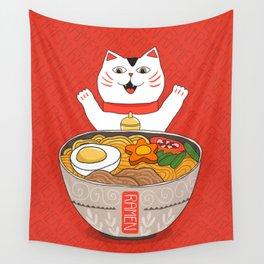 Liter of Ramen. Japanese soup and Manekineko cat. Wall Tapestry