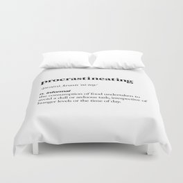 Procrastineating black and white contemporary minimalism typography design home wall decor bedroom Duvet Cover