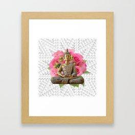 Buddha Rose Silver Mandala Framed Art Print
