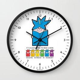 Reading Rainbow in Harmony - Blue Wall Clock