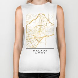 MALAGA SPAIN CITY STREET MAP ART Biker Tank