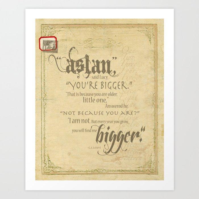 Aslan and Lucy Art Print