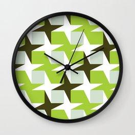 Geometric Pattern #96 (green squares white stars) Wall Clock