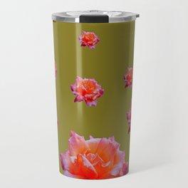 RAINING ANTIQUE PINK ROSE FLOWERS AVOCADO COLOR Travel Mug
