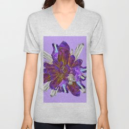DECORATIVE CLUSTER AMETHYST & QUARTZ CRYSTALS Unisex V-Neck
