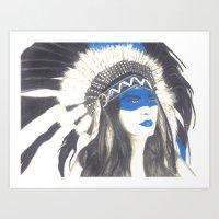 headdress Art Prints featuring Headdress by TheAngelKid