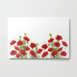 Poppies Flower Field red with background Metal Print