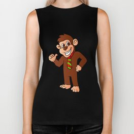 Monkey with tie Biker Tank
