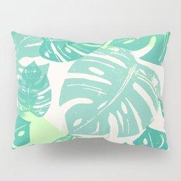 Linocut Monstera Green Pillow Sham