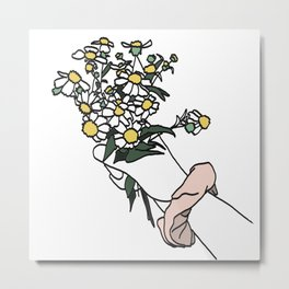 Wildflower Bunch with Pink Scrunchie Metal Print